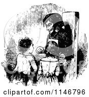Clipart Of A Retro Vintage Black And White Granny And Two Children Royalty Free Vector Illustration