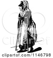 Clipart Of A Retro Vintage Black And White Old Woman Using Crutches Royalty Free Vector Illustration