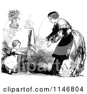Clipart Of A Retro Vintage Black And White Mother Reaching Out To Her Walking Toddler Royalty Free Vector Illustration