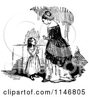 Clipart Of A Retro Vintage Black And White Daugher Asking Her Mother A Question Royalty Free Vector Illustration