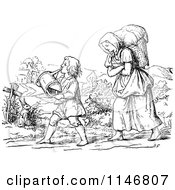 Clipart Of A Retro Vintage Black And White Mother And Son With A Watering Can Royalty Free Vector Illustration