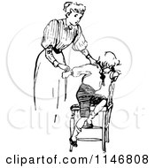 Clipart Of A Retro Vintage Black And White Mother Outting Her Son In Time Out Royalty Free Vector Illustration