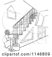 Clipart Of A Retro Vintage Black And White Woman Sitting At The Bottom Of Stairs At A Child Royalty Free Vector Illustration