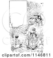 Retro Vintage Black And White Mother And Children In A Garden With Copyspace