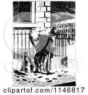 Clipart Of A Retro Vintage Black And White Mother And Son On A Snowy Sidewalk Royalty Free Vector Illustration by Prawny Vintage