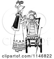 Clipart Of A Retro Vintage Black And White Mother Dressing Her Daughter Royalty Free Vector Illustration