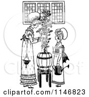 Clipart Of A Retro Vintage Black And White Mother And Daughter Tending To A Plant Royalty Free Vector Illustration
