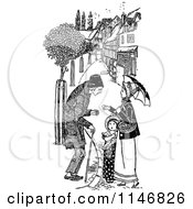 Clipart Of A Retro Vintage Black And White Male Beggar And Woman Royalty Free Vector Illustration