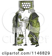 Clipart Of Retro Vintage Green Herodias And The Head Of John The Baptist Royalty Free Vector Illustration by Prawny Vintage