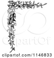 Clipart Of A Retro Vintage Black And White Alphabet Letter A And Floral Corner Border Royalty Free Vector Illustration