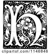 Clipart Of A Retro Vintage Black And White Alphabet Letter H Floral Design Royalty Free Vector Illustration