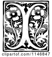 Clipart Of A Retro Vintage Black And White Alphabet Letter I Floral Design Royalty Free Vector Illustration by Prawny Vintage