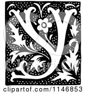 Clipart Of A Retro Vintage Black And White Alphabet Letter Y Floral Design Royalty Free Vector Illustration by Prawny Vintage