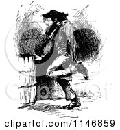 Clipart Of A Retro Vintage Black And White Vagrant Man Rubbing His Ankle Royalty Free Vector Illustration