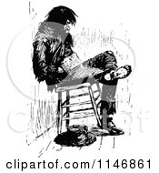 Clipart Of A Retro Vintage Black And White Vagrant Man In A Chair Royalty Free Vector Illustration