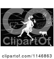 Clipart Of A Retro Vintage Black And White Man Trekking With A Dog Through A Farm Royalty Free Vector Illustration by Prawny Vintage