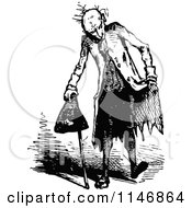 Clipart Of A Retro Vintage Black And White Vagrant Man Royalty Free Vector Illustration