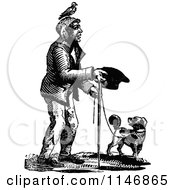 Clipart Of A Retro Vintage Black And White Beggar Man And Dog Royalty Free Vector Illustration