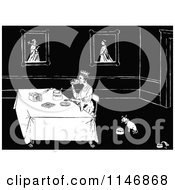 Clipart Of A Retro Vintage Black And White Dog Eating Near A Queen Served Bread And Honey Royalty Free Vector Illustration by Prawny Vintage
