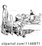 Clipart Of A Retro Vintage Black And White Waiter And Happy Man Dining Royalty Free Vector Illustration