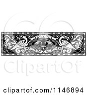 Clipart Of A Retro Vintage Black And White Vintage Dragon Border Royalty Free Vector Illustration