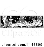 Clipart Of A Retro Vintage Black And White Border Of Geese And People Royalty Free Vector Illustration
