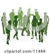 Green Group Of Silhouetted People Hanging Out In A Crowd Two Friends Hugging Clipart Illustration