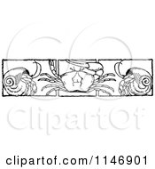 Clipart Of A Retro Vintage Black And White Border Of Crabs And Hermits Royalty Free Vector Illustration