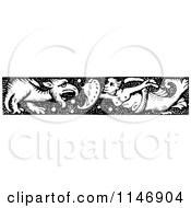 Clipart Of A Retro Vintage Black And White Merman Dragon Slayer Border Royalty Free Vector Illustration