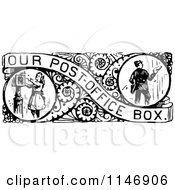 Clipart Of A Retro Vintage Black And White Border Of Mail Boxes Royalty Free Vector Illustration by Prawny Vintage