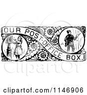 Retro Vintage Black And White Border Of Mail Boxes