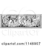 Clipart Of A Retro Vintage Black And White Border Of Peasants And A Goose Royalty Free Vector Illustration