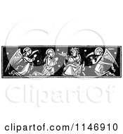 Clipart Of A  Retro Vintage Black And White Border Of A Saint Receiving A Crown Royalty Free Vector Illustration