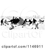 Clipart Of A Silhouette Border Of Boys Fighting Royalty Free Vector Illustration