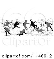 Clipart Of A Silhouette Border Of Golfers Fighting Royalty Free Vector Illustration