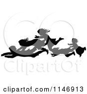 Clipart Of A Silhouette Border Of Children Falling Royalty Free Vector Illustration