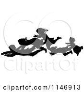 Silhouette Border Of Children Falling