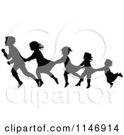 Clipart Of A Silhouette Border Of Children Following And Holding On Royalty Free Vector Illustration by Prawny Vintage