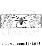 Retro Vintage Black And White Border Of A Spider And Webs