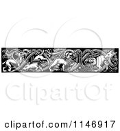 Clipart Of A Retro Vintage Black And White Border Of Wild Dogs Royalty Free Vector Illustration