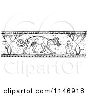 Retro Vintage Black And White Border Of A Wild Dog And Worm