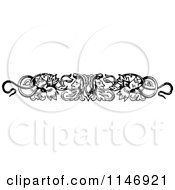 Clipart Of A Retro Vintage Black And White Floral Frace And Snake Border Royalty Free Vector Illustration