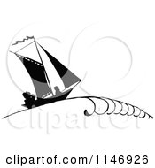 Clipart Of A Retro Vintage Silhouetted Sailboat With People Royalty Free Vector Illustration
