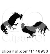 Clipart Of A Retro Vintage Silhouetted Cock Fight Royalty Free Vector Illustration by Prawny Vintage #COLLC1146930-0178