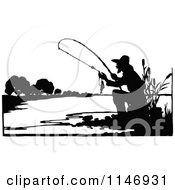 Retro Vintage Silhouetted Fishing Man