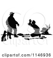 Clipart Of A Retro Vintage Silhouetted Man Pleading Royalty Free Vector Illustration