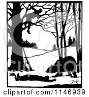 Clipart Of A Retro Vintage Silhouetted Man In A Tree Over A Bear And Attacked Man Royalty Free Vector Illustration