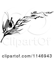 Clipart Of A Retro Vintage Silhouetted Ant And Cricket With A Banjo On A Branch Royalty Free Vector Illustration by Prawny Vintage