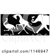 Clipart Of A Retro Vintage Silhouetted Border Of An Ostrich Giraffe And Elephant With A Flag Royalty Free Vector Illustration