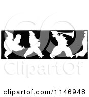 Retro Vintage Silhouetted Border Of Marching Clowns